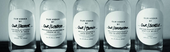 Our Vodka packaging by Great Works